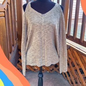 Olive Green Cold Shoulder Sweater